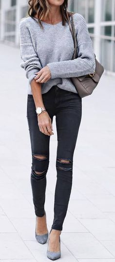 Dark jeans and grey sweater