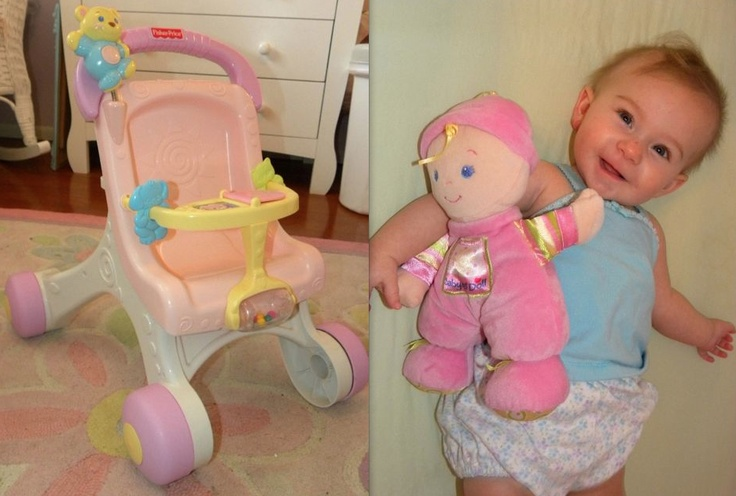 Fisher Price Brilliant Basics Stroll Along Walker & baby doll. Retail for over 45 for the two, I ...