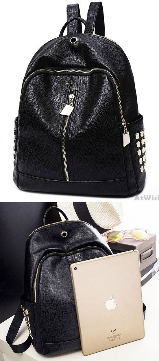 Leisure Black PU Lichee Pattern Punk Rivet Zipper School Headphone Hole College Backpack for big sale! #backpack #punk #rivet #bag
