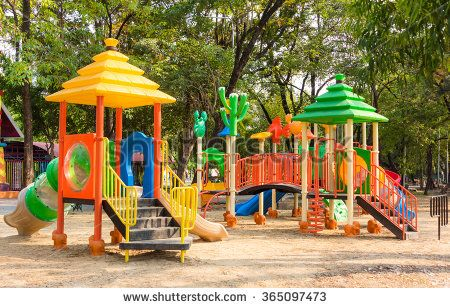 Children kid playground for kindergarten and elementary student leisure and recreation activity with toy and slider leftover in the park in childhood color style