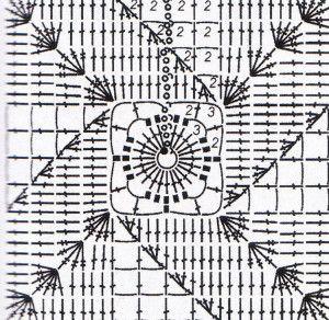 9 асимметричных узоров на квадратах из филейной сетки