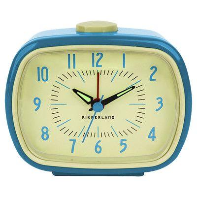 Kikkerland Retro Alarm Tabletop Clock Color: Blue