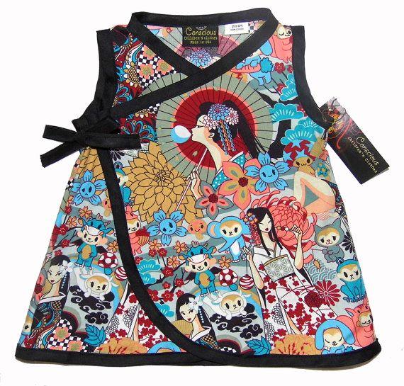 Japanese Anime- Geisha Kimono - Baby Girl Dress - Harajuku Dress- Girls Dress - Japanese Baby Clothes - Sizes nb to 18m