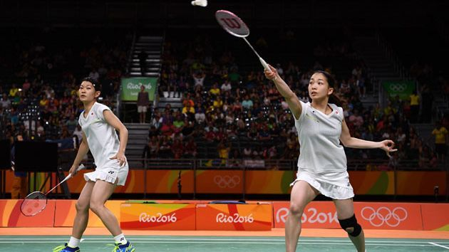 RIO DE JANEIRO, BRAZIL - AUGUST 18: Misaki Matsutomo and Ayaka Takahashi of Japan play a shot against Christinna Pedersen and Kamilla Rytter Juhl of Denmark during the Women's Doubles Badminton Gold Medal Match on Day 13 of the Rio 2016 Olympic Games at Riocentro - Pavilion 4 on August 18, 2016 in Rio de Janeiro, Brazil. (Photo by David Ramos/Getty Images)