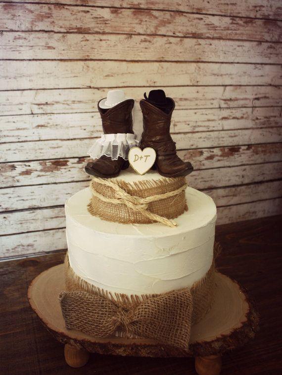 Country western wedding-cowboy boots wedding cake topper-western wedding-cowboy