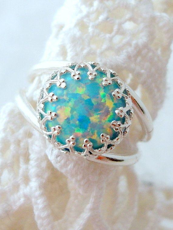 Mint opal ring | Silver opal ring | Gemstone ring by EldorTinaJewelry | http://etsy.me/1LvZbVN
