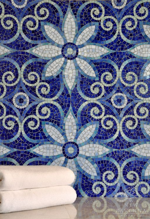Awesome mosaic tile work in Lapis Lazuli!