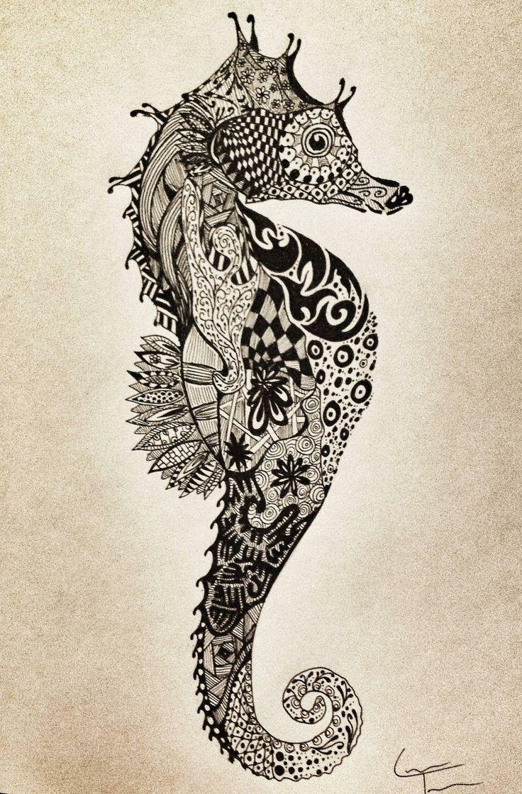 Idée de tatouage hippocampe que je le ferais si très coloré 12838