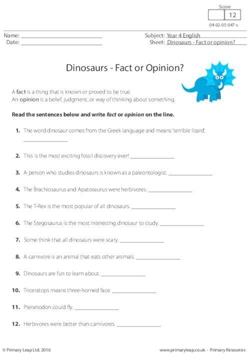 dinosaurs fact or opinion worksheet english printable worksheets. Black Bedroom Furniture Sets. Home Design Ideas