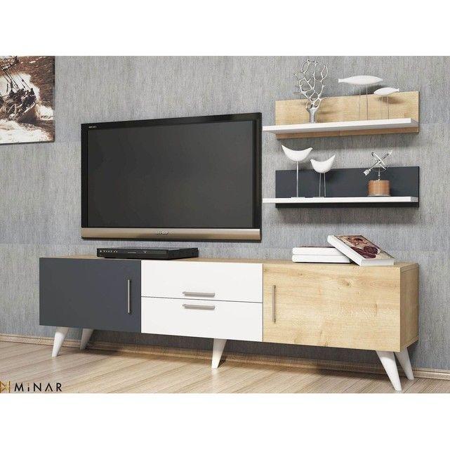 Meuble Tv Avec Etageres Only 160 X 45 Cm Gris Blanc Et Beige Meuble Meuble Tv Design Et Mobilier De Salon