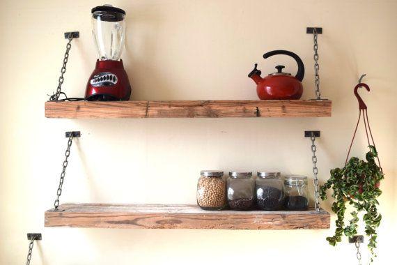 Rustic Barnwood Shelf  Industrial Steel Shelf by SummervilleDuke