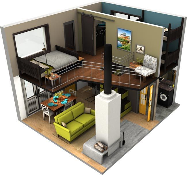 3d for Small house with loft design