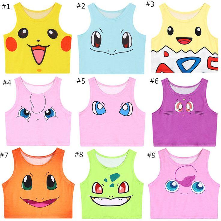 10 Colors Pokemon Cartoon/Sailor Moon Kitten Crop Tank Top SP152993