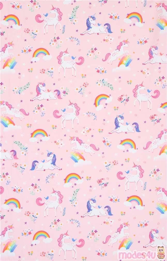 Light Pink Robert Kaufman Rainbow Happy Little Unicorns