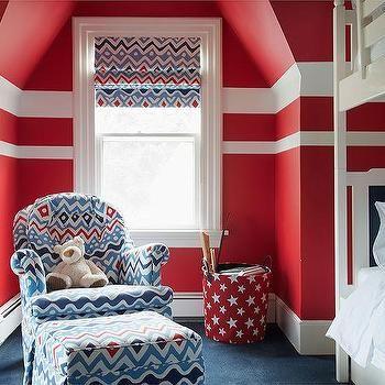 Красный и Синий мальчик Спальня с белыми двухъярусными кроватями