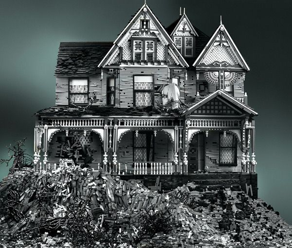 Amazing haunted houses created out of LEGOs by Mike Doyle: Lego Victorian, Haunted Houses, Mikedoyl, Black White, Lego Creations, Abandoned Houses, Mike Doyl, Victorian Houses, Lego Houses
