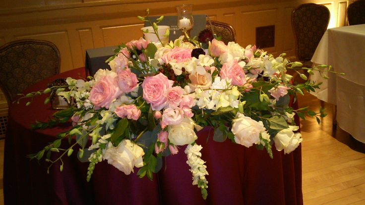 Luxurious garden roses with blush pink  and cream roses for Erika and Mike's sweetheart table at Hotel duPont.