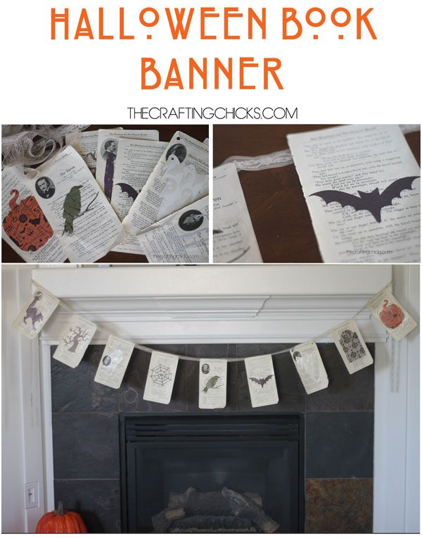Turn an old book into a spooky Halloween book banner with these tips by the Crafting Chicks. What an interesting way add some spookiness to the home!