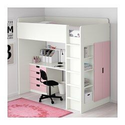 STUVA Loft bed with 4 drawers/2 doors, white, pink - Twin - IKEA