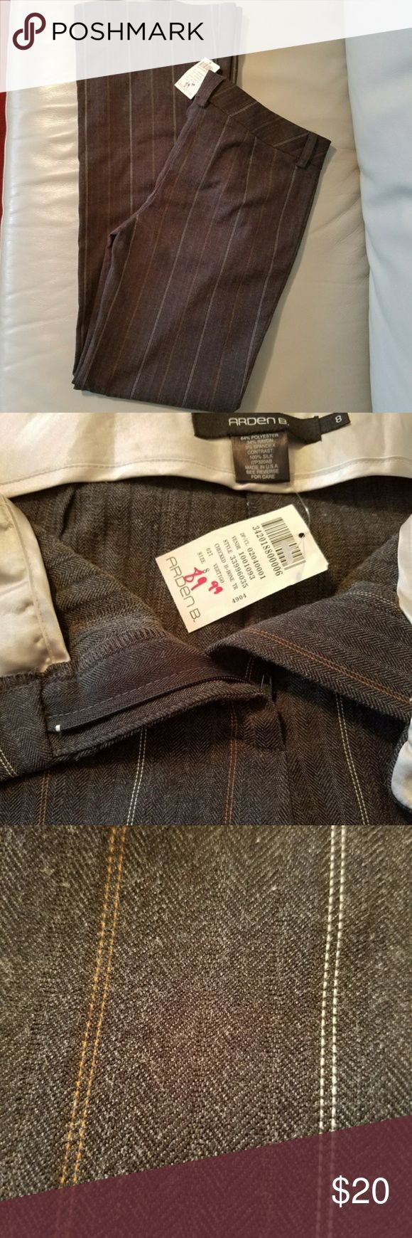 """NWT, Arden B, Gray Pinstripe Trouser, 8 33 x 33 New with tags!  These were purchased on sale for $89.  Gray pinstripe trouser with small white and orange stripes.  33"""" Waist, 33"""" Inseam, 10"""" Rise, 21"""" Leg Opening, 21"""" Thigh (All measurements are approximate.)  64% Polyester 34% Rayon 2% Spandex Arden B Pants Trousers"""