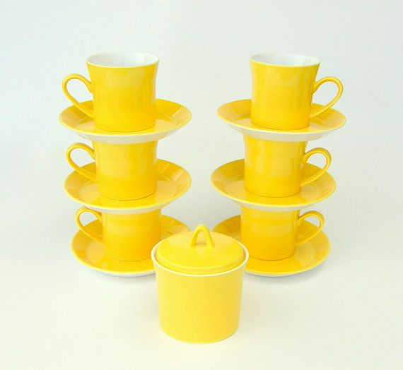 Yellow vintage cups and saucers