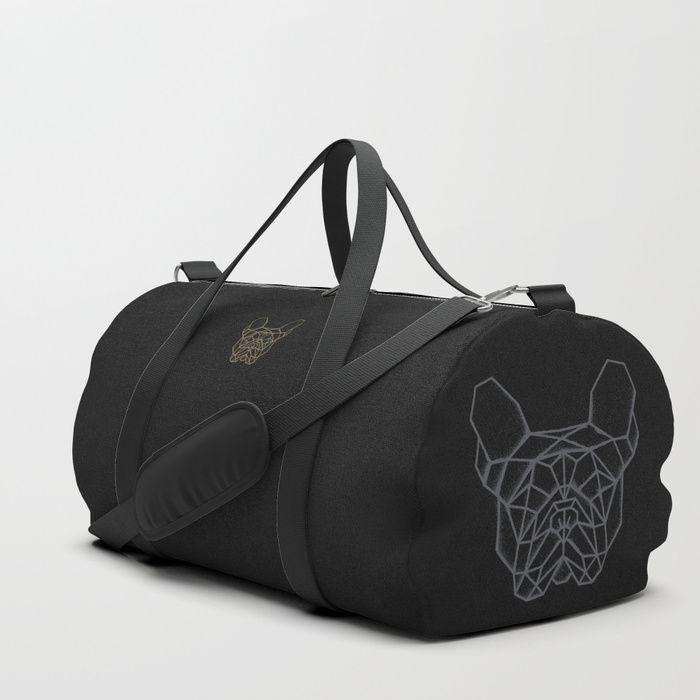 Jet black duffle bag with geometric graffiti sprayed French Bulldog. #FrenchBulldog #frenchie #bulldog #bag #duffle #french