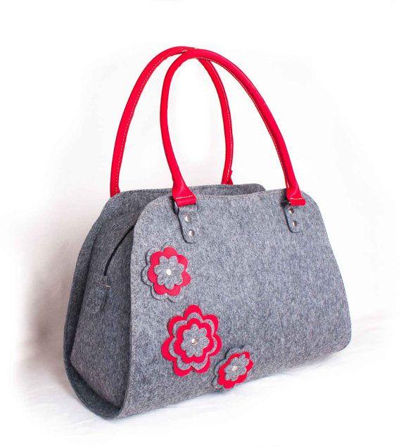 Felted Handbag Red purse Red flower bag Grey felt hobo  Shoulder bag Grey felt…