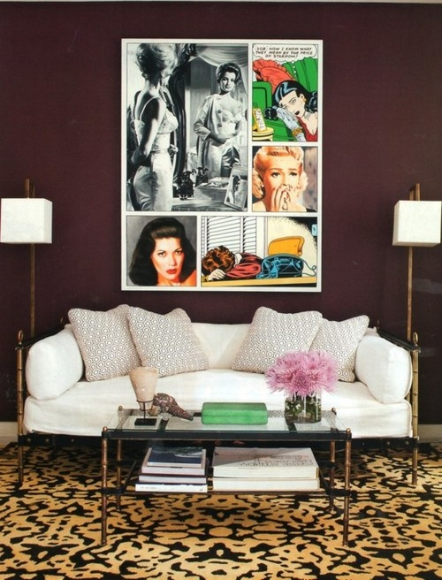 Put Pop Art Deep Plum Walls And A Cheetah Rug All You Get Is The Most Stylish Living Room This Designed By Daniel Romualdez Which Was