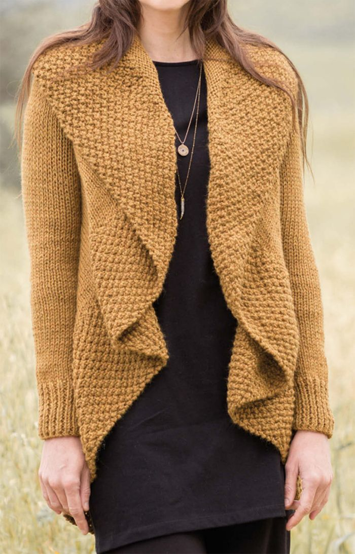 921b55757 Free Knitting Pattern for Fleur Cardigan - This circle sweater features a 4  row repeat Moss Stitch collar and draped front. The body is knit in the  round in ...