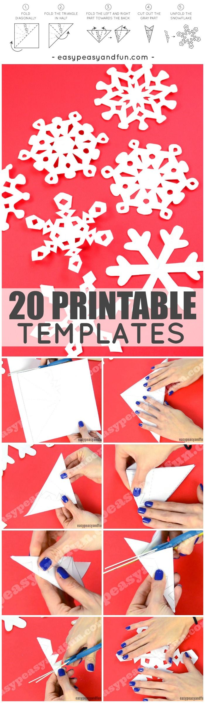 How To Make Paper Snowflakes with 20 Printable Templates and Designs! So many great ideas for kids to make gorgeous snowflakes this winter! #snowflakecrafts #wintercrafts
