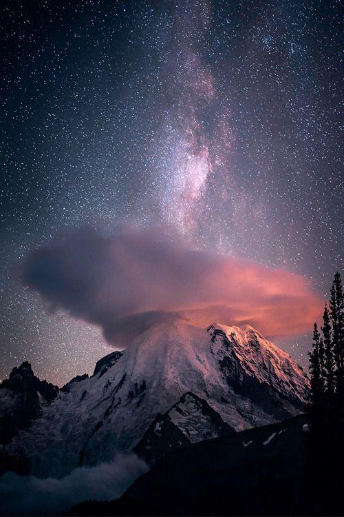 souhailbog:  Milky Way Mt Rainier  © Copyright   Follow For More