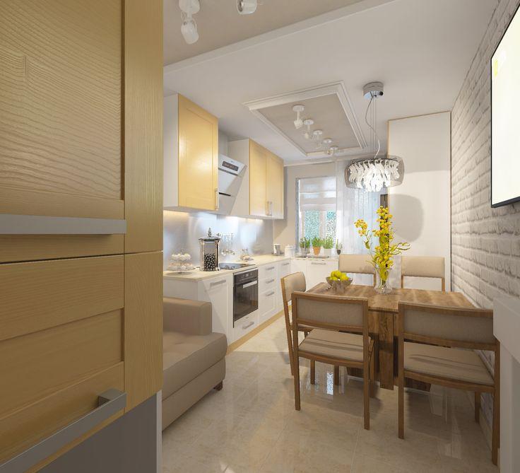 Кухня. Дизайн-проект. Бежевый диван на кухне. Бежевый пол из плитки на кухне.