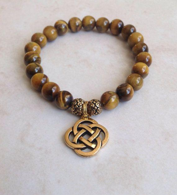 Celtic Eternal Knot Tiger's Eye Bracelet on Etsy, $18.00