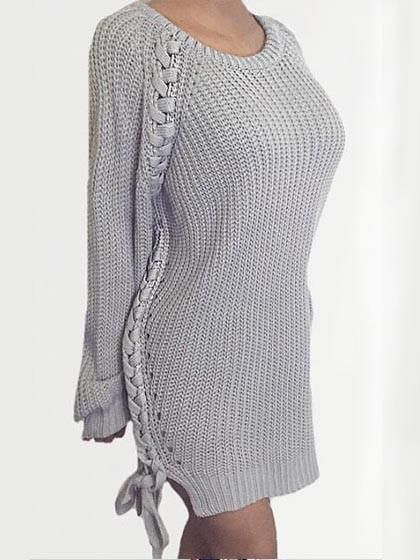 Chicnico Fashion Over Size Solid Color Crochet Sweater