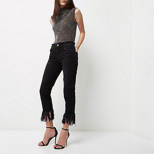 Zwarte gerafelde cropped boyfriend jeans - boyfriend / ruime jeans - jeans - dames