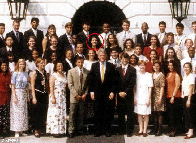 Pictured: Bill Clinton with the 1995 class of White House interns, with Lewinsky circled in the back row