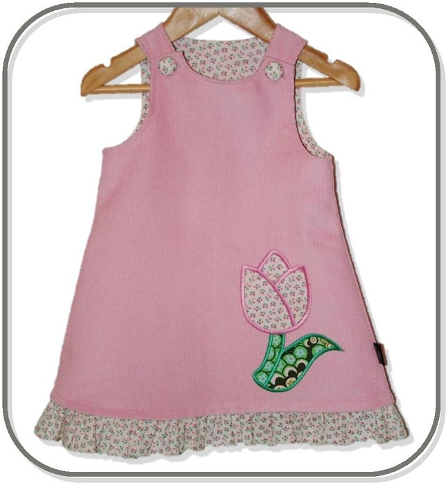 SIZE 0 Pale Pink Corduroy Applique Embroidered Pinafore - Tulip - by Karousel_Kids on madeit