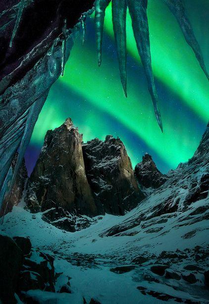 Moonlight and Aurora, Mount Monolith, Tombstone Range, Yukon, Canada