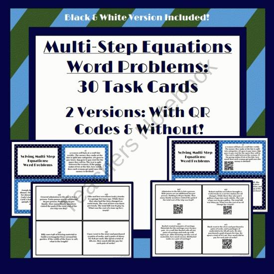 Multi Step Equation Word Problems 28 Task Cards With Or