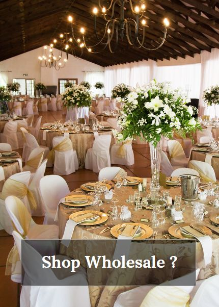 Want to know how and where to buy wholesale flowers & vases? Need inexpensive tablecloths, napkins, chair sashes and other linens?