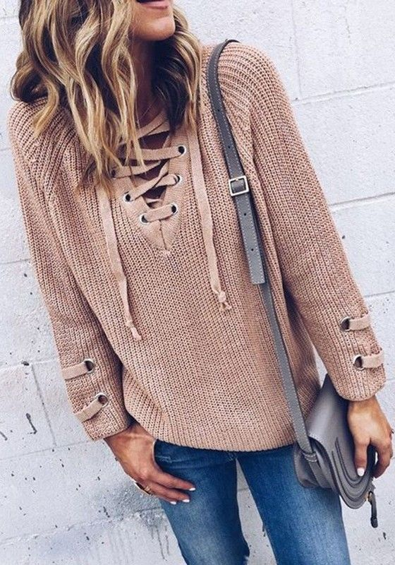 Sleek yet comfy, this khaki sweater is perfect for this season. The most eye-catching is its unique drawstring v-neck design. In these chilly mornings and nights, slip into this wonderful piece!
