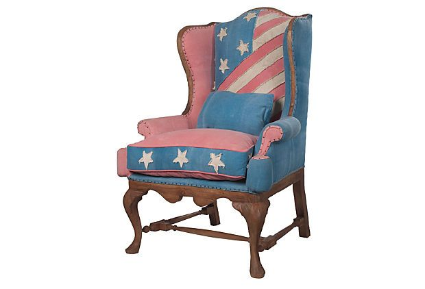 Murica: Betsy Ross, Dreamy Upholstery, Flags Waverly, American Decor, American Flags Pictures, Ross Wings, Red White, Stripes Forever, Wingback Chairs