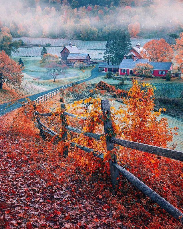 Woodstock Vermont Autumn Scenery Scenery Photo