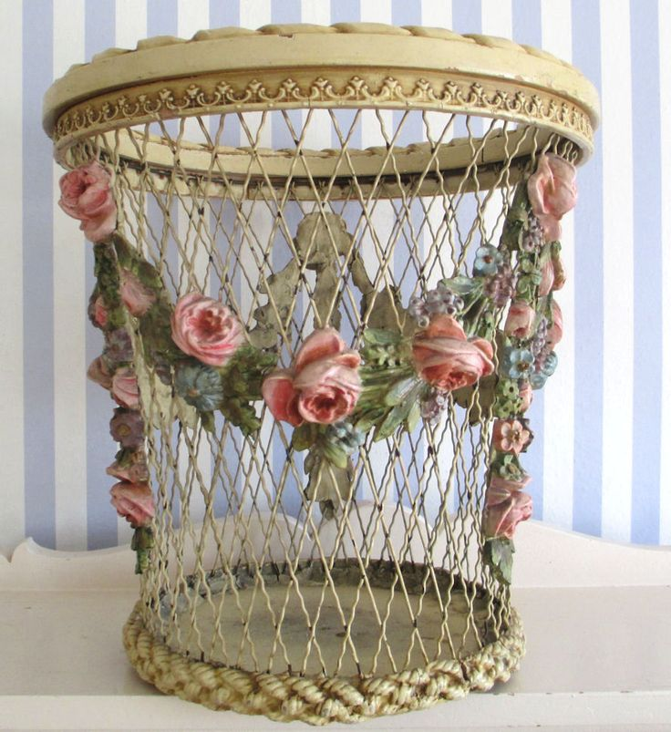 "RARE Antique Wood Wire Basket Barbola Rose Swags 15"" All Original 