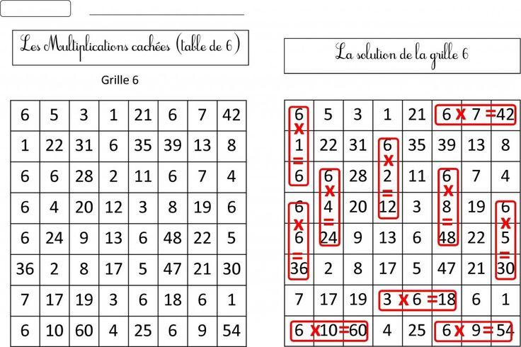 Les 25 meilleures id es de la cat gorie grille tables de - Apprentissage des tables de multiplication ...