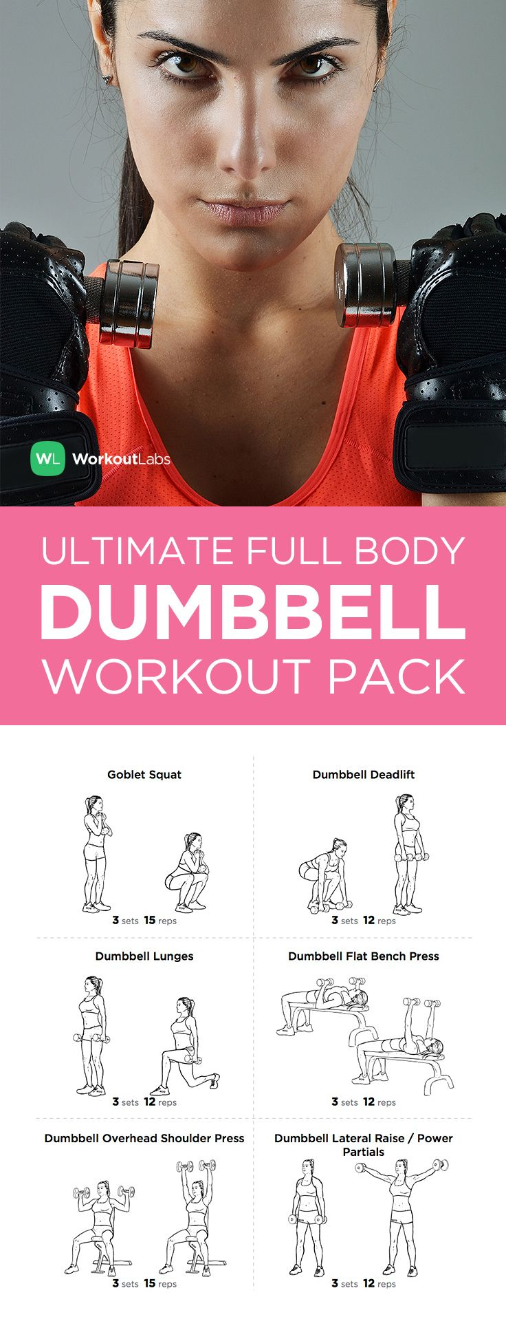Ultimate Full Body Dumbbell Workout Pack for Men & Women - everything you need to know to get a full body workout in this downloadable PDF!