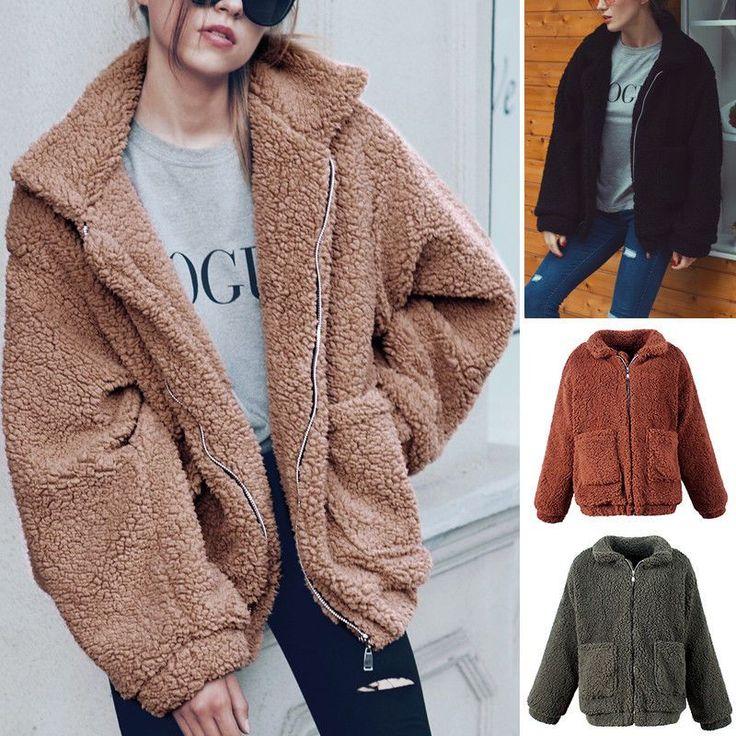Winter Women's Faux Fur Jacket Casual Coat Shaggy Hairy Short Outwear Zip Tops