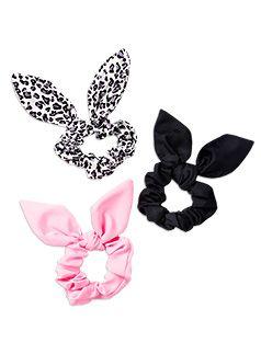 Hair Accessories 3pk Bunny Ear Scrunchies Multi hair tie
