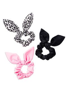 Hair Accessories 3pk Bunny Ear Scrunchies Multi hair tie