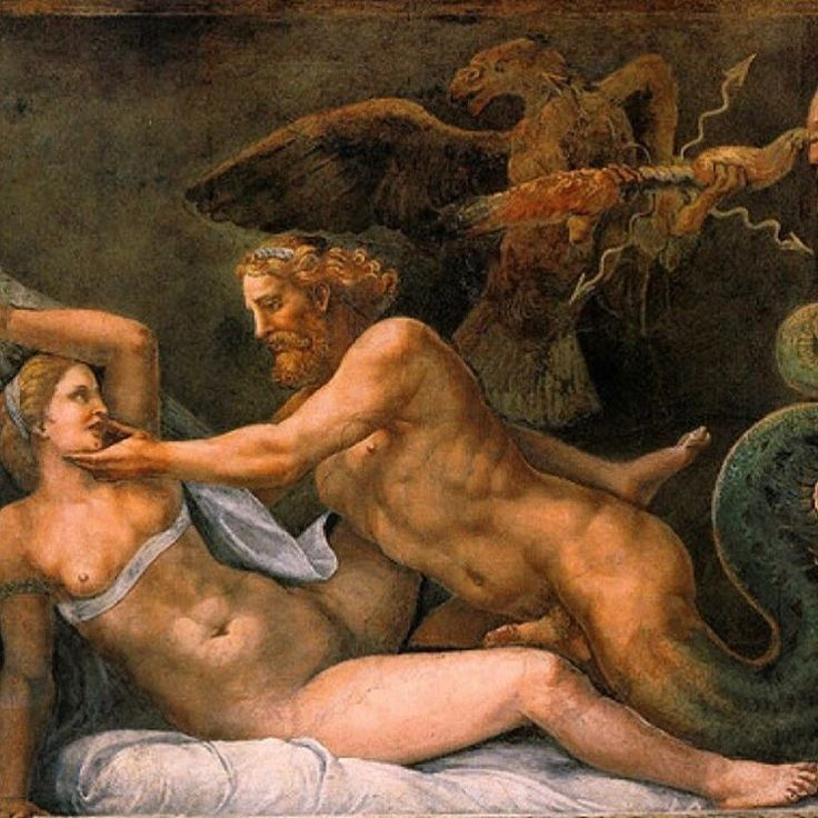 Zeus seduces Olympias (Mother of Alexander The Great) Fresco by Giulio Romano between 1526 and 1534, in Palazzo del Te, Mantua, Italy. #zeus #greekmythology #olympias #queen #alexanderthegreat #art...